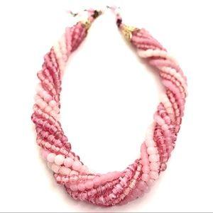 Vintage Necklace Pink Ombre glass Bead Torsad